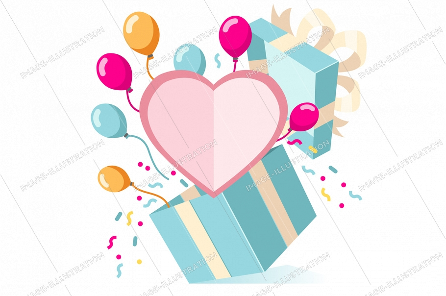 Symbolic loving present for a woman. Card for giving valentine's surprise to a young man. Valentines surprise on website, web page for give a gift. Symbol of love flat sign cartoon vector illustration