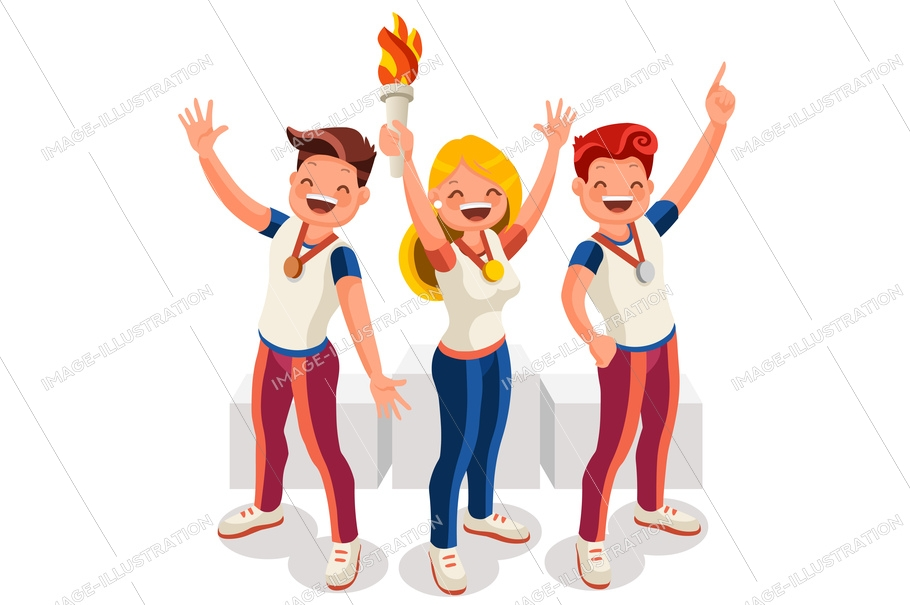 Crowd of persons celebrate xxxii summer games, athletics gold medal. Sportive people celebrating, athletes team. Athlete symbol of victory celebration. Sports cartoon symbolic flat vector illustration