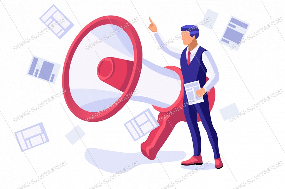Magazine street stand, publications for reading and buying male daily press and media. International cartoon characters, person with loudspeaker to public audience for news. Flat vector illustration.