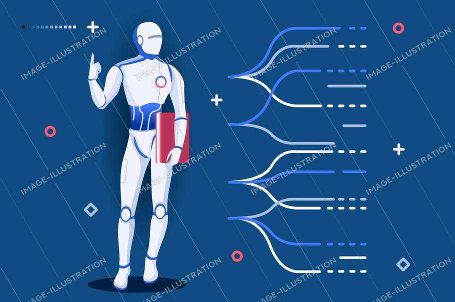 Template for robotics learning. Robots on website science page machine modern artificial engineering programming hardware. Engineers male intelligence at diploma cartoon university vector illustration