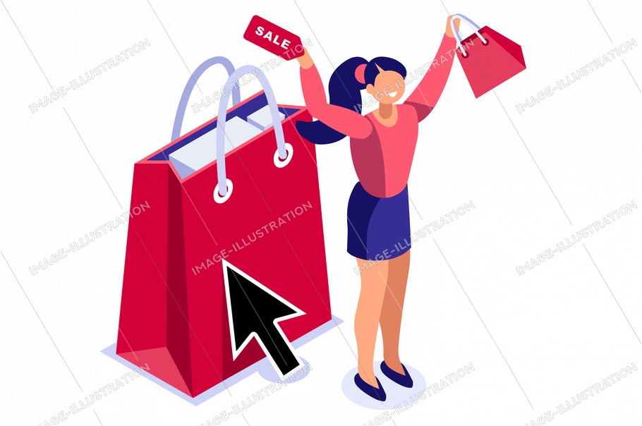 Consumer buy concept. Layout online for female fashion customer. Paying buyer on modern e-commerce, person at payment interface. Conceptual graphic for ecommerce. Cartoon flat vector illustration.