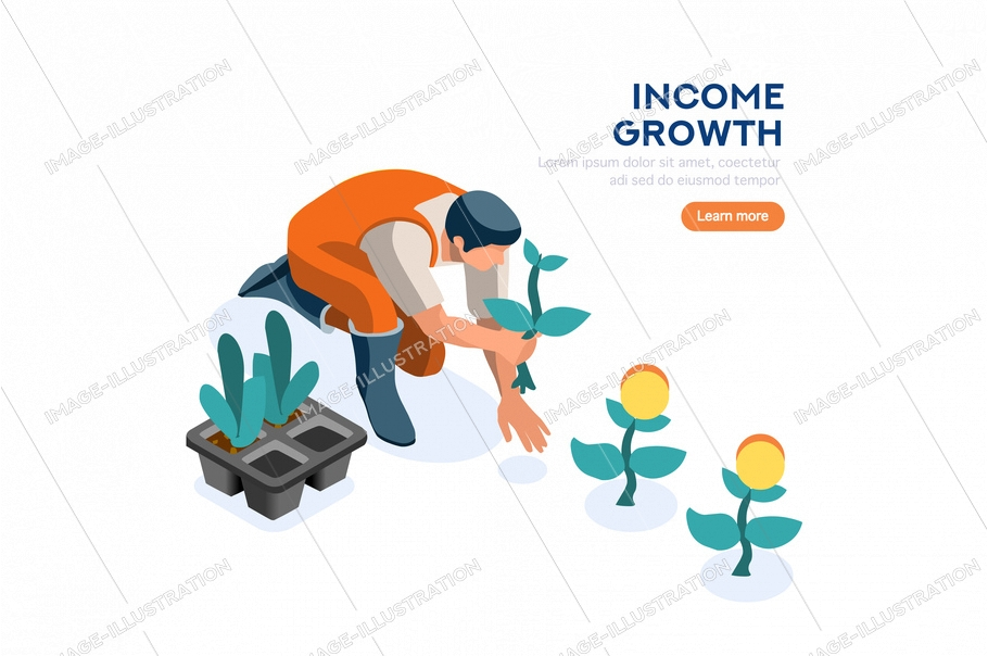 Idea of income, person on profit, people on golden investment with cartoon banknotes. Rich person watering a plant of money, web page for wealth. Financial website, flat vector illustration.