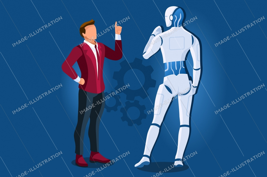 Symbolic artificial intelligent machine, model of website. Intelligence learning lecture from man to robot. Computer science symbol of robotics teaching. Modern page template flat vector illustration.