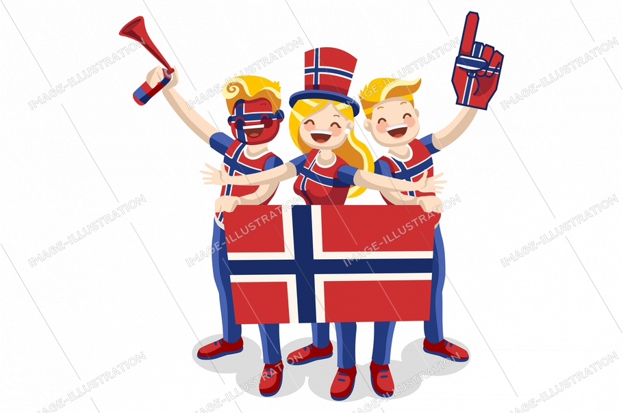 Crowd of persons celebrate national day of norway with a flag. Norwegian people celebrating a football team. Soccer symbol and victory celebration. Sports cartoon symbolic flat vector illustration