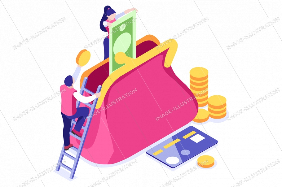 Banknote vector illustration. Wallet in flat tiny persons concept. Women's savings purse, successful credit. Cartoon bills in the office. Golden earnings holding currency metallic cash. Man with coins