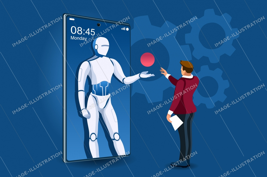 Symbolic office, computer symbol as remote web assistance for humans. Artificial intelligence technology sign. Internet workers simple man and high tech robot machine. Cartoon flat vector illustration