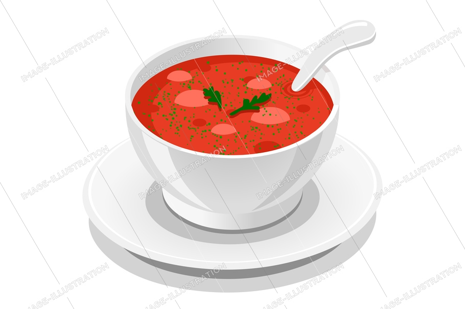 Appetizing flavor of a soup, symbol of sauce. Taste delicious tasty of food, fast meal at the fastfood, snack concept. Symbolic conceptual cartoon flat vector illustration.