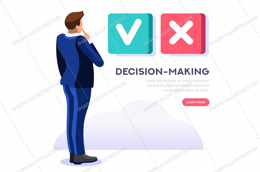 Person choosing and agree the yes select option, ok decision to confirm choice for a solution. Positive fingers out of no negative symbol. Symbolic flat abstract concept. Isometric vector illustration
