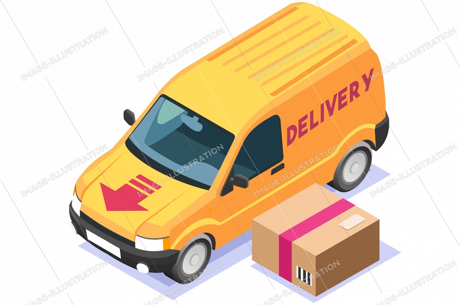 Symbolic commercial freight delivery symbol. Courier truck of delivery boy with in house parcel, commerce at home sign. Vector illustration. Home express food deliver, online commercial order concept.