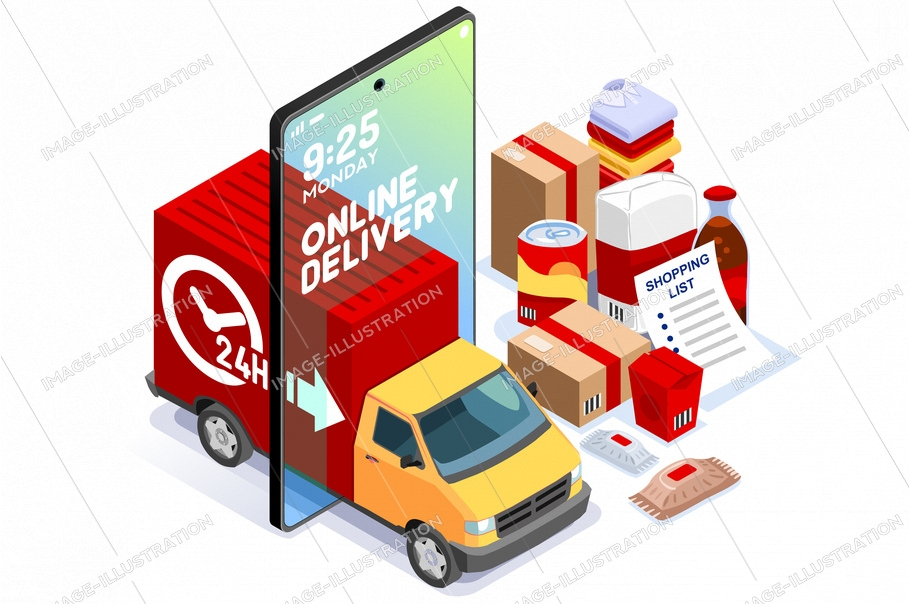 Symbolic commercial home deliver symbol. Courier truck of delivering boy with in house parcel, e commerce sign. Vector illustration icon. Express food, home delivery commercial online order concept.