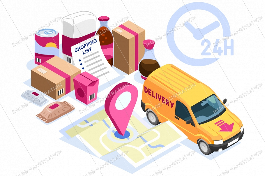 Symbolic courier service, posting order symbol. Give home direction for parcel fast delivery on customer purchase. Express shipping sign. Isometric icon or logo, cartoon flat vector illustration.