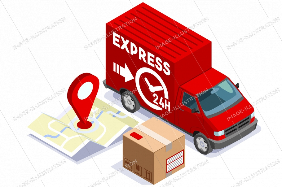 Symbolic parcel, delivery service by express courier, shipping symbol. Logistics of relocation to deliver urgent and fast shipment. Logistic sign, trucking by trucks. Cartoon flat vector illustration.