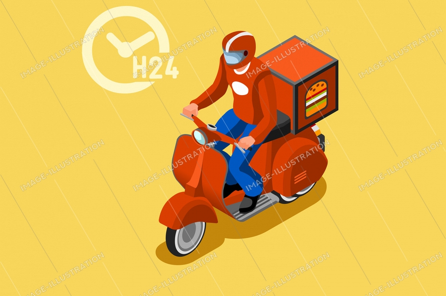 Online delivery express concept with courier parcel order. Courier shipping concepts with driver. Deliveries design with track on web, vehicle track, delivery concept. Banner flat vector illustration.