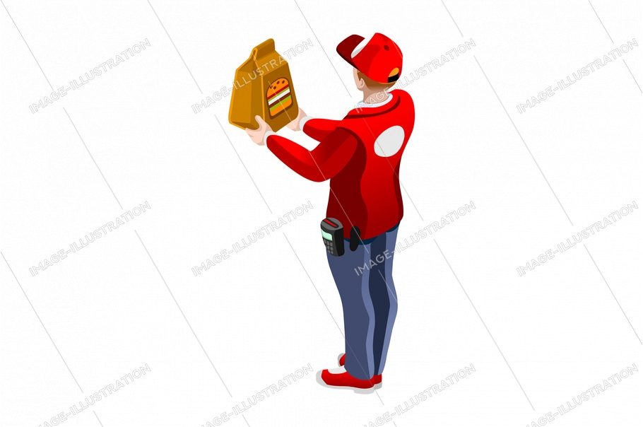 Abstract delivering, delivery a deliver vector design. Express foods orders, speed route to home direction, male worker give fast food order to customer cartoon character. Client purchase illustration
