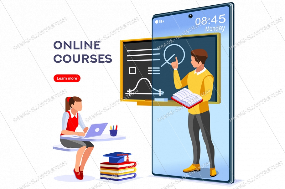 Symbolic studying, self learn symbol. Graphic design of elearning, distance studying for the exam sign. Vector illustration flat web banner. Teaching course, tutorial for elearning infographic concept