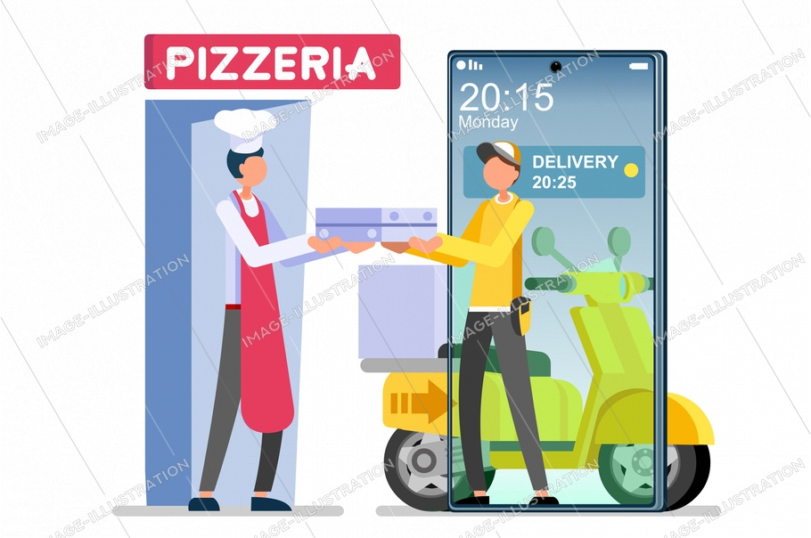 Symbolic fast food delivery symbol. Abstract delivery concepts, man delivering foods burger and pizza, deliver concept. Flat cartoon vector illustration. Cheeseburger express shipping, graphic design