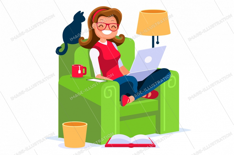 Abstract working at home concept. Young company inspiration for trendy working at home on work space studio. Stylish vector illustration in flat cartoon style. Developer teamwork shared works concepts