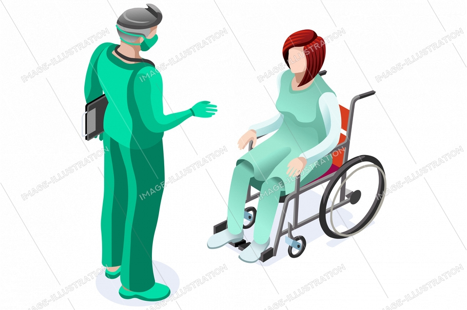 Concept of medical patient on clinic with doctor, healthcare medicine care symbol. Health care medical doctor cares given by health consultation. Conceptual symbolic vector illustration, flat cartoon.