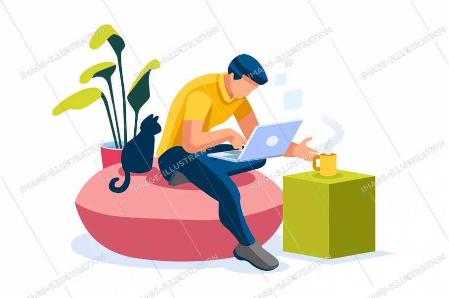 Home with boy working in isolation. Homes equipment to working home. Education on smart home for smart man, homes digital work. Clothes for homes life isolated cartoon character vector illustration