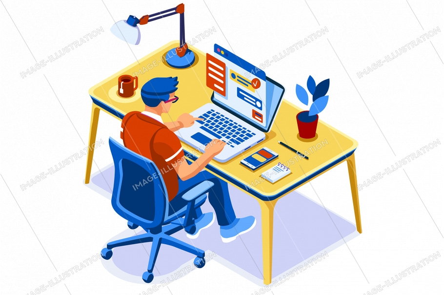 Concept of study, studying student characters studying online. Studying at home, distance learning concept. Distance education concepts, educational homes internet for students. Vector illustration.