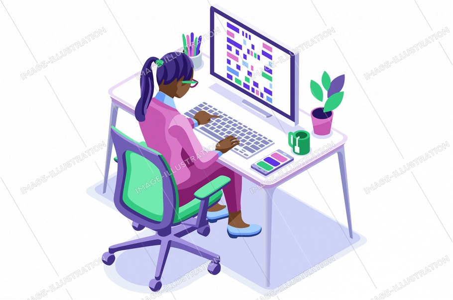 Trendy homes studio at girl home. Work on trendy computer in a young space working with style on laptop. Concept of working, girl in isolation at home. Cartoon character, vector illustration concepts