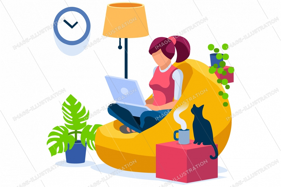 Trendy homes studio at woman home. Work on trendy computer in a young space working with style on laptop. Concept of working, woman isolation at home. Cartoon character on vector illustration concepts