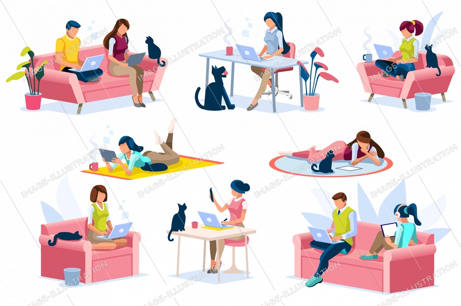 Home with girl working in isolation. Homes equipment to working home. Education on smart home for smart woman, homes digital work. Clothes for homes life isolated cartoon character vector illustration