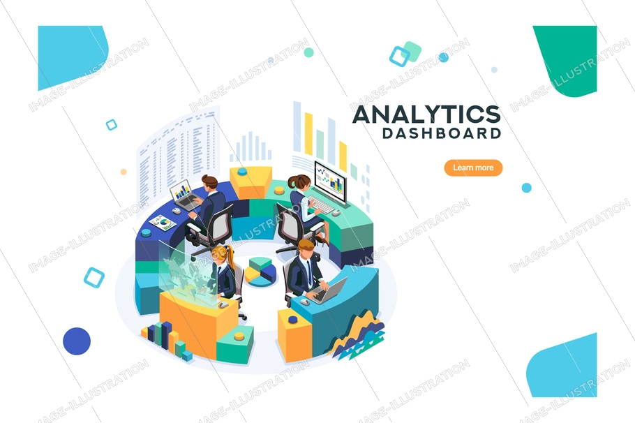 Media analysis process, information on service application, social analysis system. Software for global media connection concept. Vector illustration.